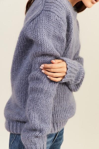 Mohair-Woll-Pullover Taubenblau