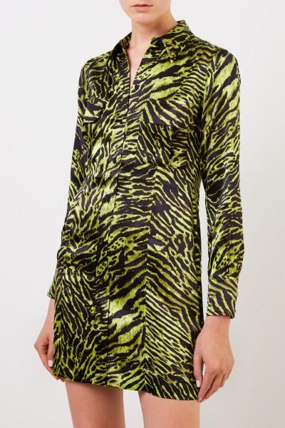 Ganni Seiden-Hemdblusenkleid mit Tigerprint Multi