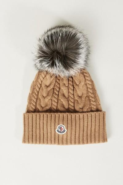 Woll-Cashmere-Mütze mit Zopfmuster und Bommel Braun
