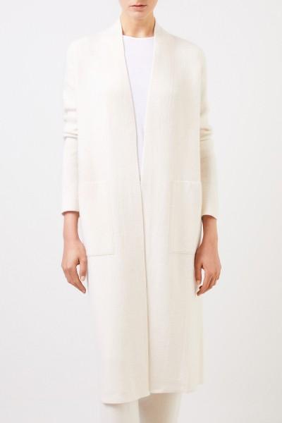 Iris von Arnim Doubleface cashmere-silk coat 'Polla' with hood Taupe/Ecru