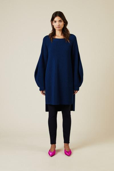 Strick-Kleid mit Schlitzen Blau