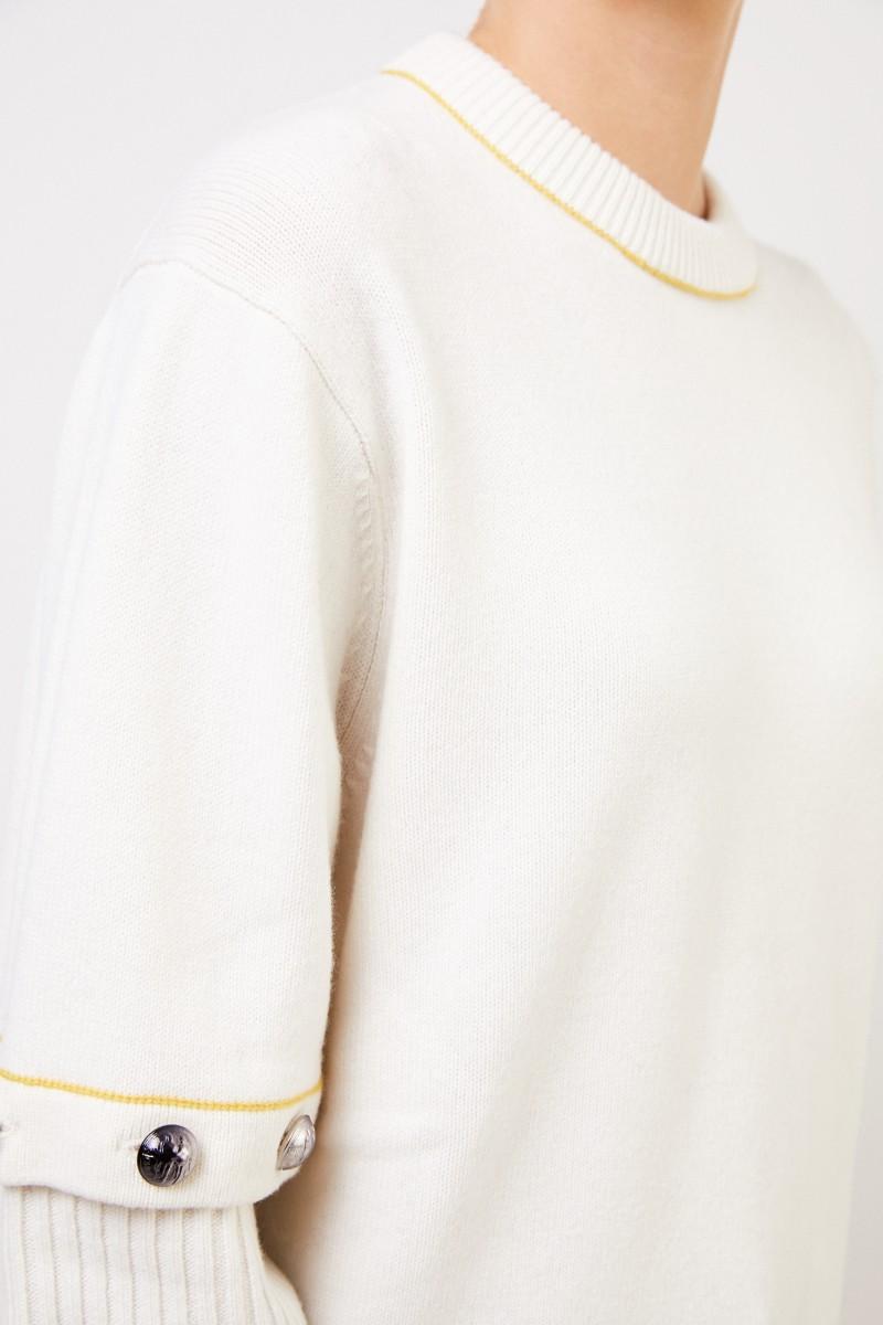 Chloé Woll-Pullover mit angeknöpften Ärmeln Soft White