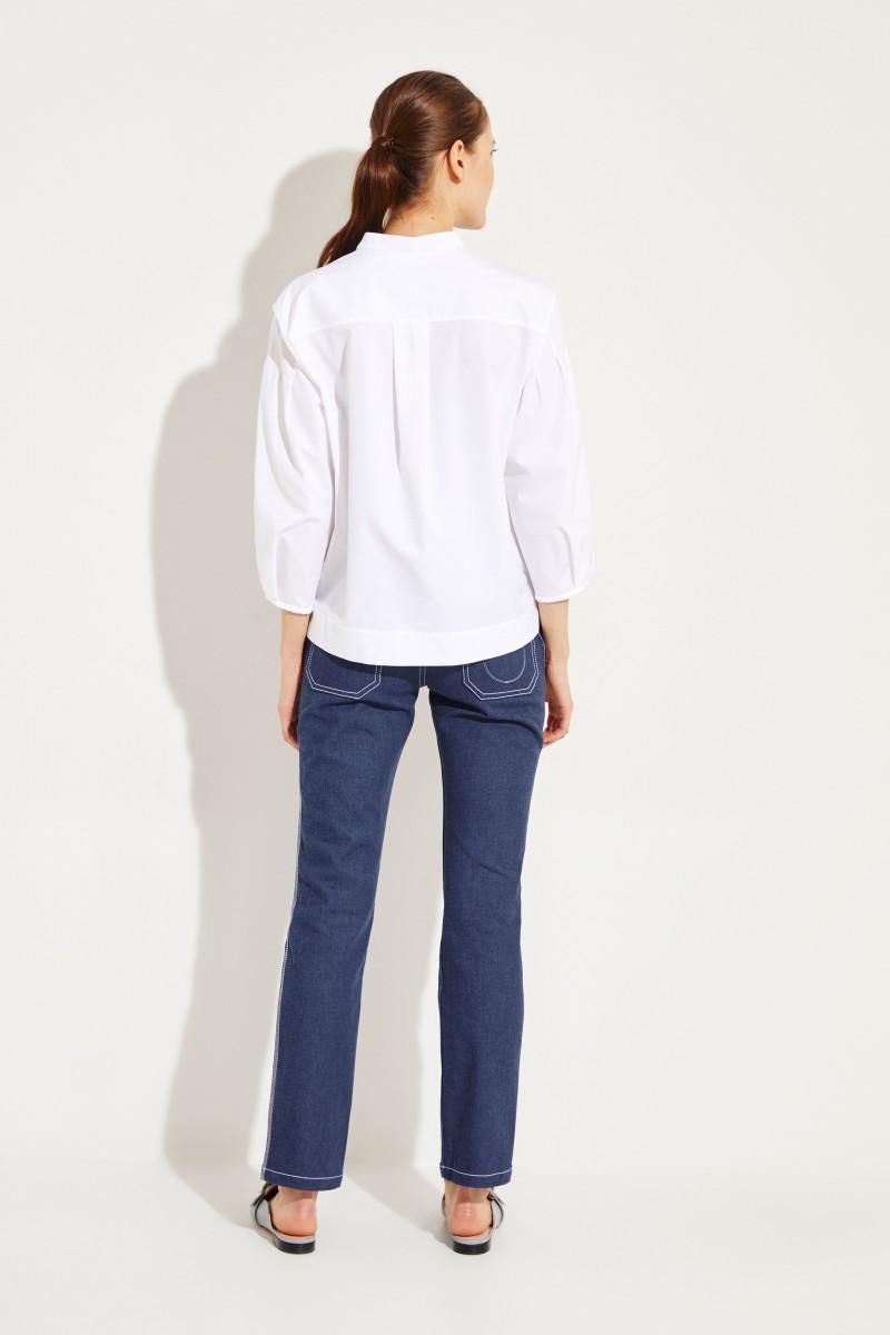 Baumwoll-Bluse mit Lock-Stickerei Weiß