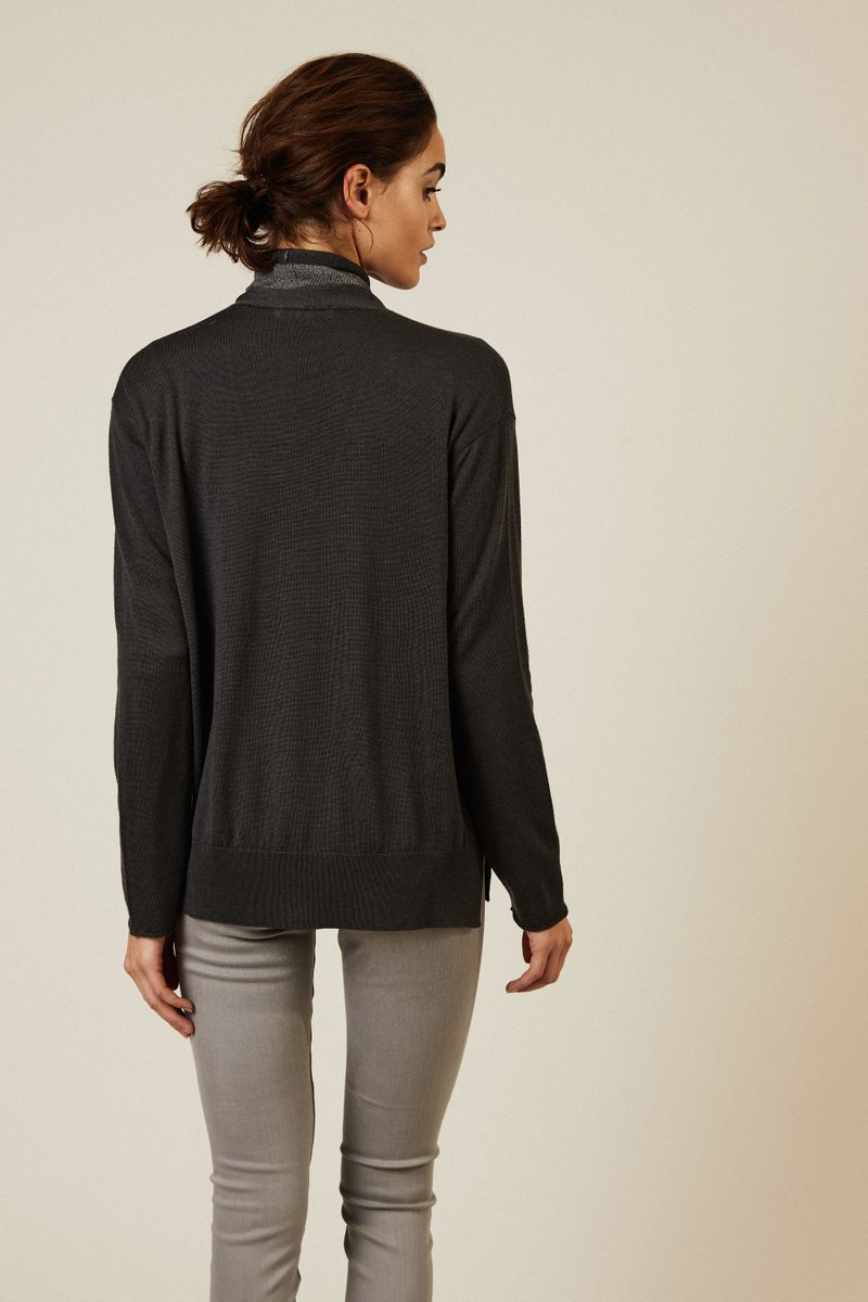 V-Neck Woll-Pullover Graphit