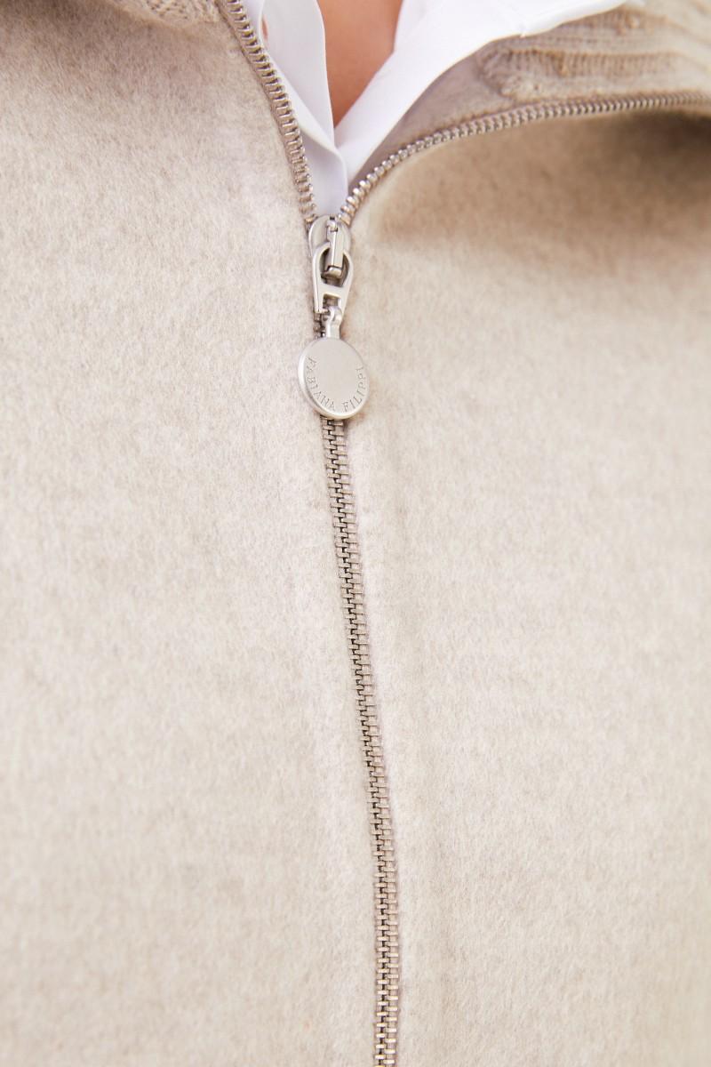 Woll-Cashmere Cape mit Paillettendetails Beige