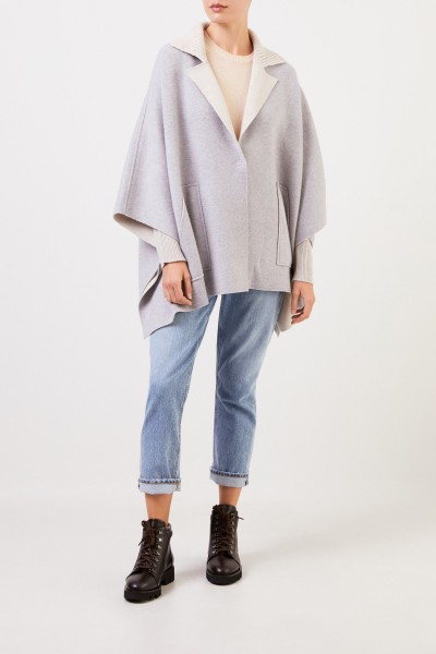 Bruno Manetti Wool cape with knitted collar Grey/Beige