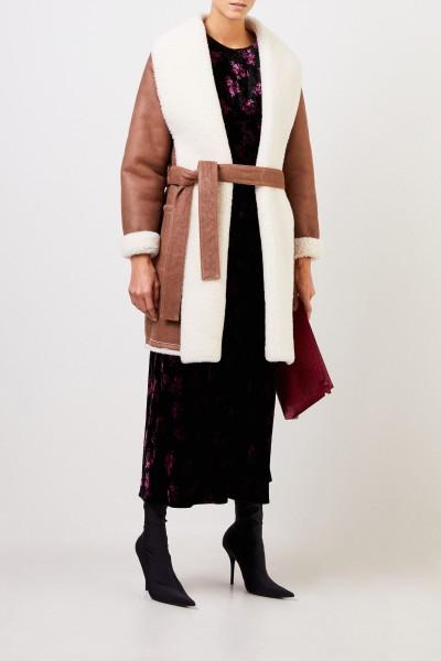 Loewe Lambskin coat with belt Brown/Cream