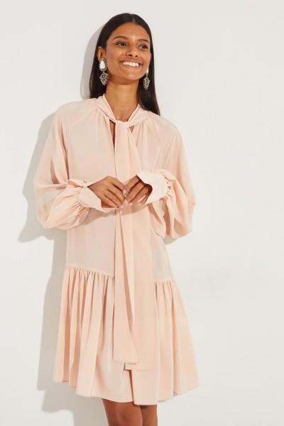 Seidenkleid mit Schluppendetail Rosé