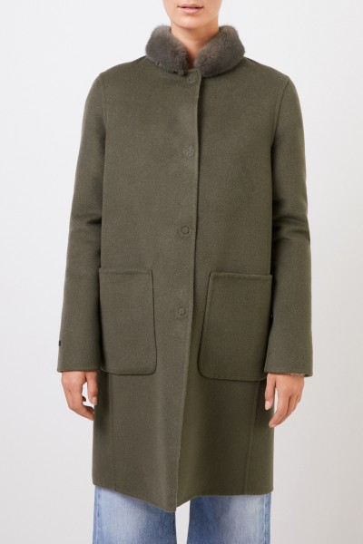 Manzoni 24 Cashmere wool coat with mink collar Green/Grey