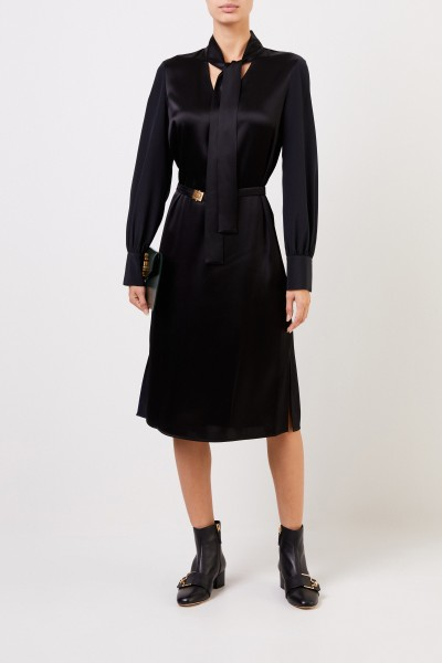 Dress with bow detail and belt Black