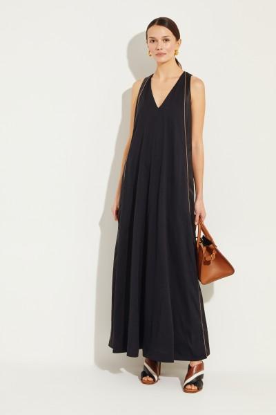Langes Kleid mit Seidendetails Schwarz