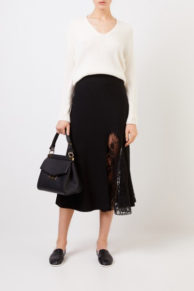 Midi Skirt with Lace Insert Black