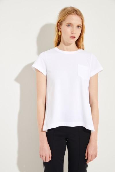 Baumwoll-Shirt mit Plissee-Detail Weiß