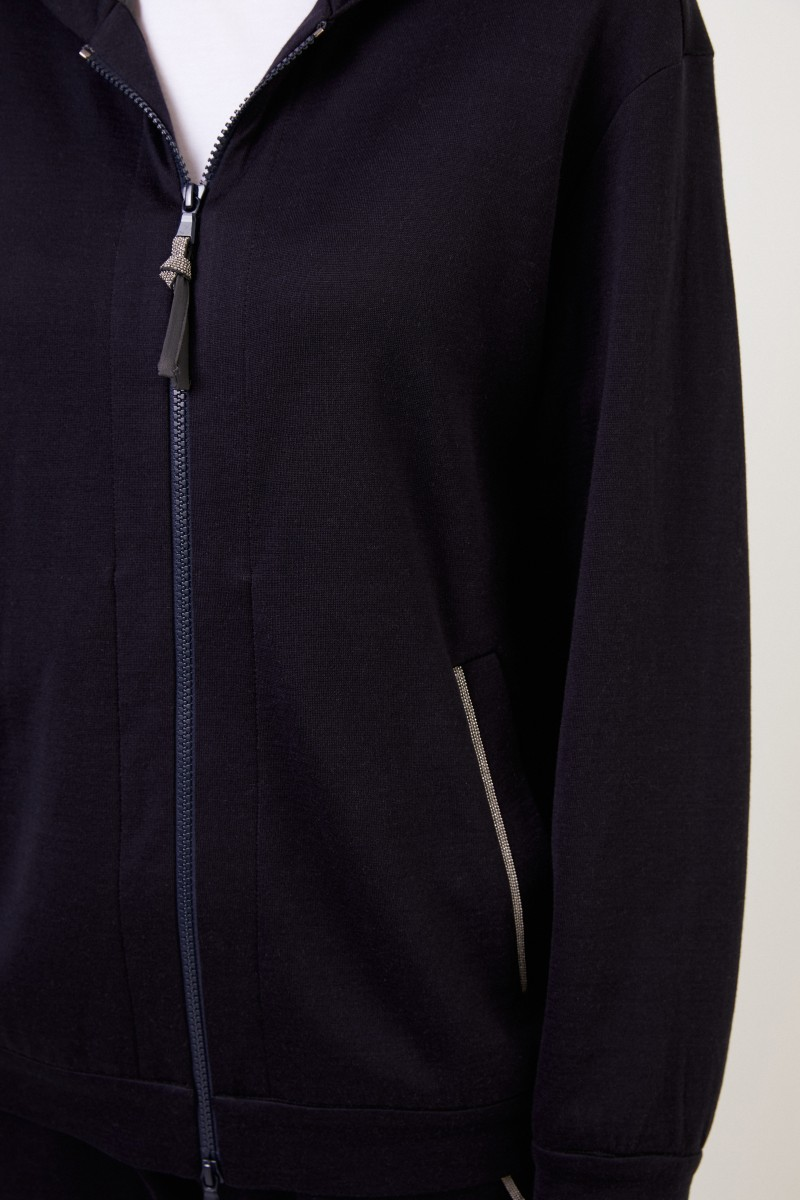 Brunello Cucinelli Baumwollhoodie mit Perlenverzierung Marineblau