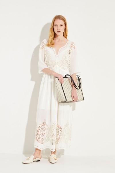 Seiden-Kleid mit Lochspitze Créme