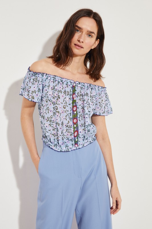 3bae4abca962fd Cropped top  Amora  with floral print Blue