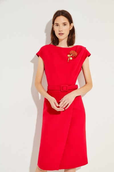 Silk wool crepe dress with brooch Red