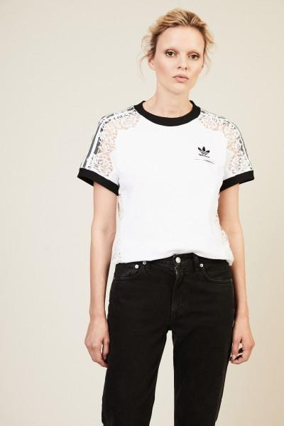 Baumwoll-Shirt mit Spitzendetails Weiß/Schwarz