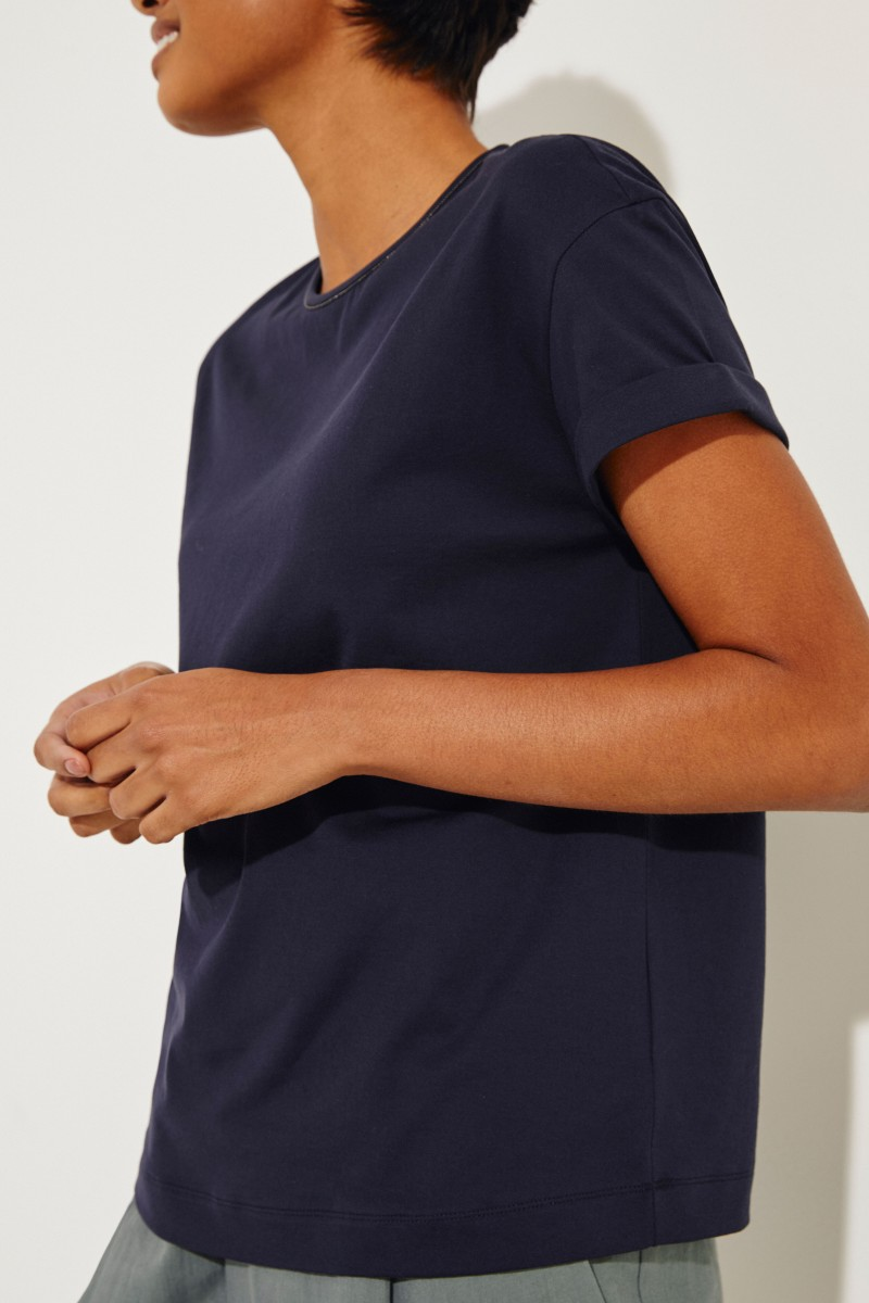 T-Shirt mit Perlenverzierung Marineblau
