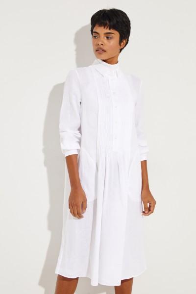 Hemdblusenkleid mit Pliseee-Detail Weiß