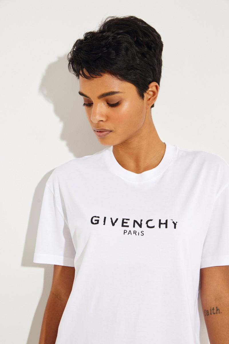 Oversize T-Shirt mit Logo Weiß