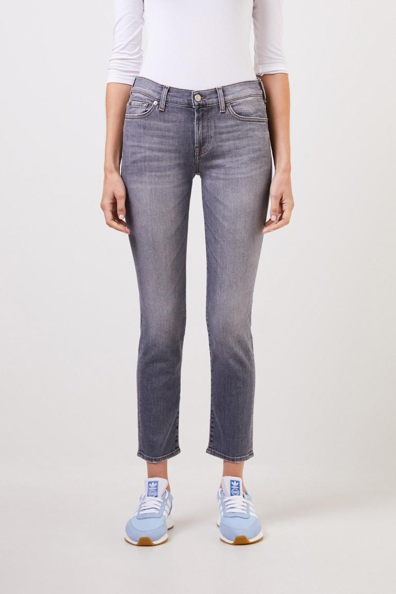 7 for all mankind Midrise-Jeans 'Roxaenne Crop' Grau
