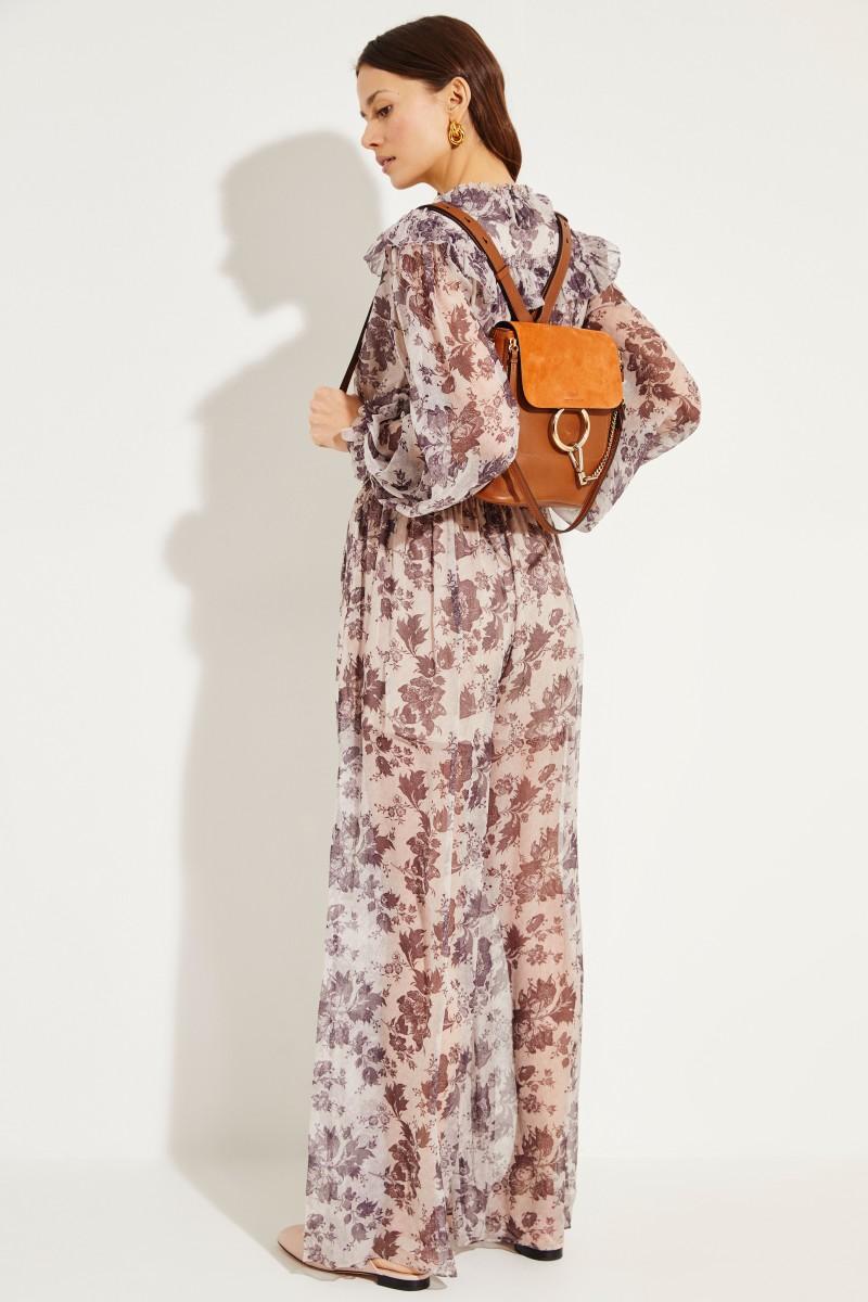 Rucksack 'Faye Backpack' mit Veloursleder-Details Tan
