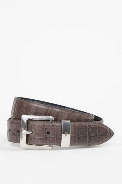 Gräfin v. Lehndorff Crocodile embossed leather belt Grey/Blue