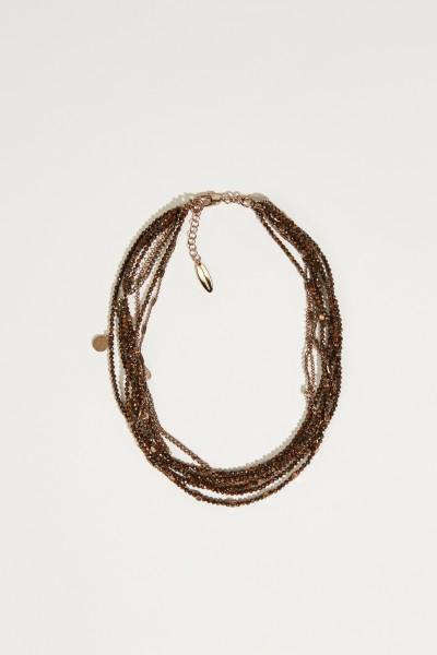 Halskette mit Anhängern Braun/Silber