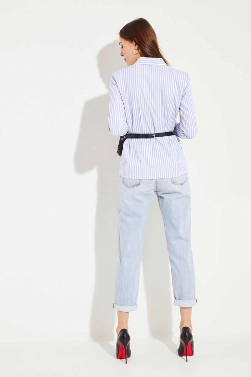 Gestreifte Baumwoll-Bluse Blau/Weiß