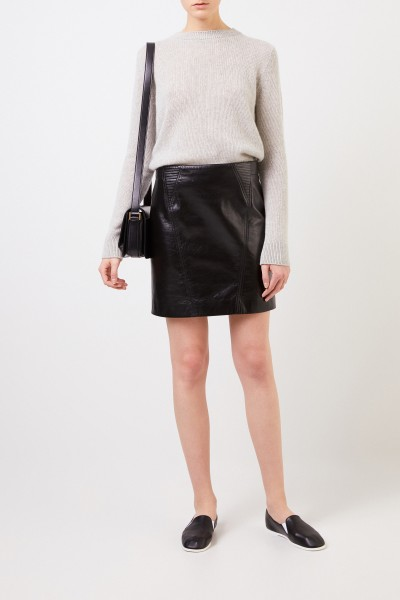 Leather skirt with quilted details Black