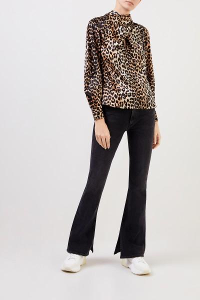 Ganni Seiden-Bluse mit Bindedetail Leopard