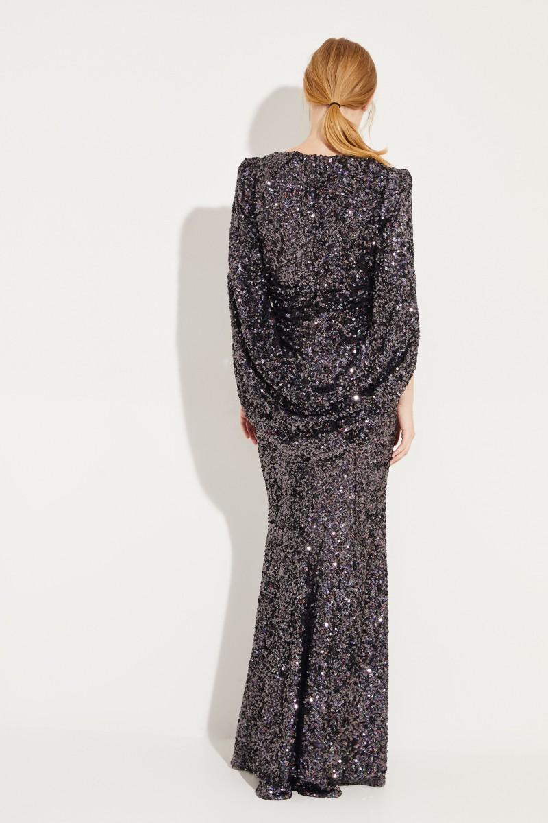 Abendkleid mit Pailletten Schwarz