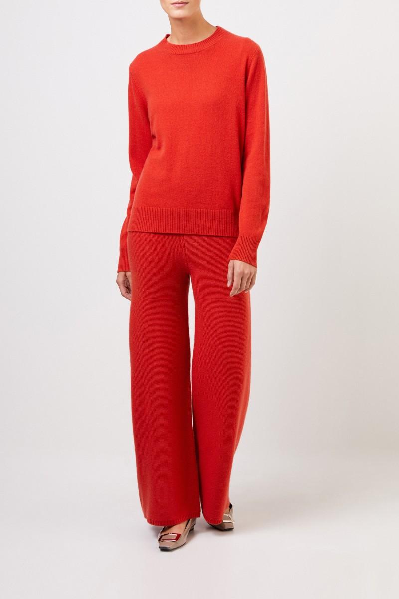 Uzwei Cashmere-Pullover mit Rippstrickkragen Orange