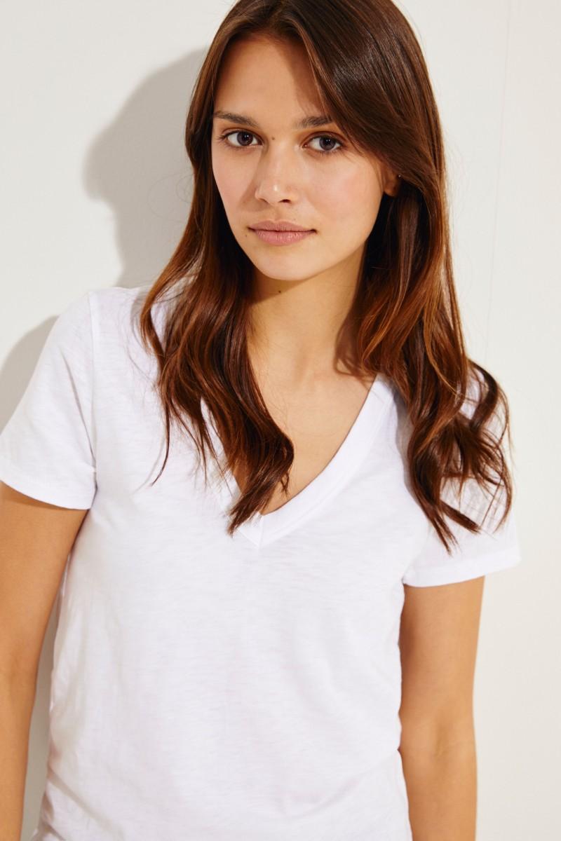 V-Neck T-Shirt Weiß