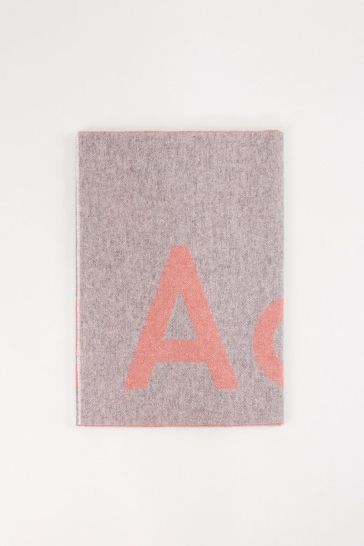 Wool scarf 'Toronty Logo' Grey/Light Pink