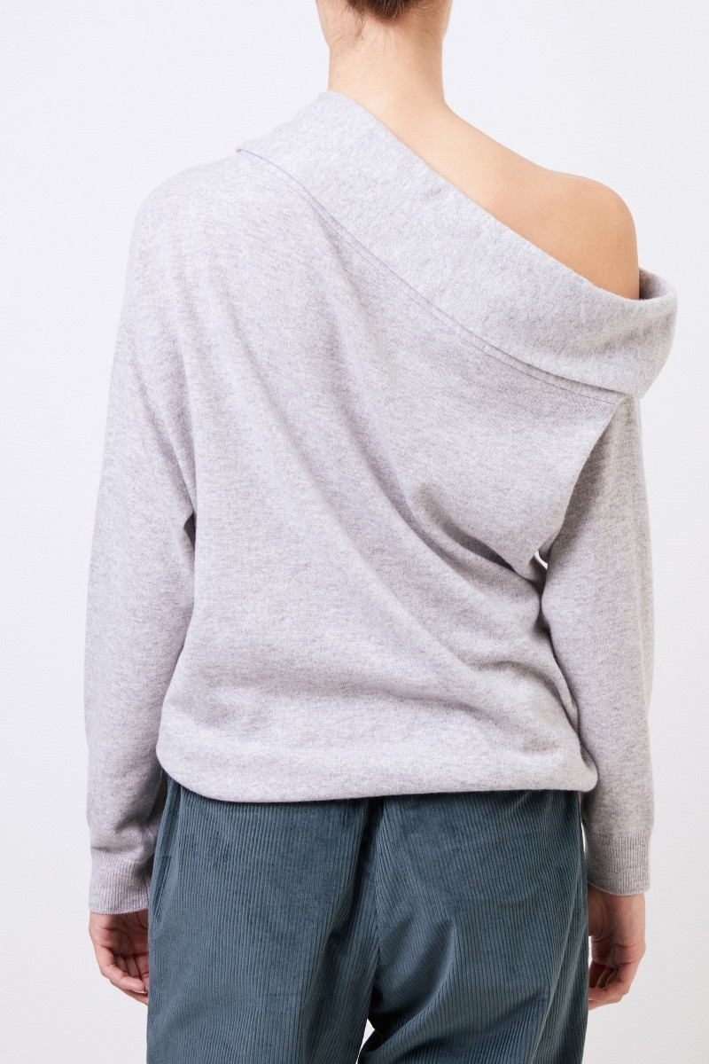 Brunello Cucinelli One-Shoulder Cashmere-Pullover Grau