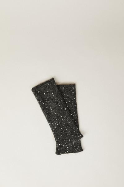 Stulpen mit Paillettenbesatz Grau