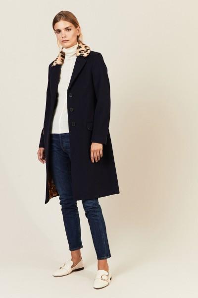 Woll-Cashmere Mantel mit Fellkragen Blau