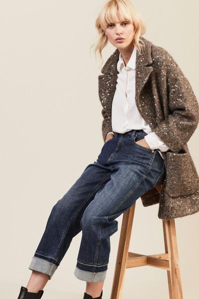 Baumwoll-Mohair-Jacke mit Pailletten Grau/Multi