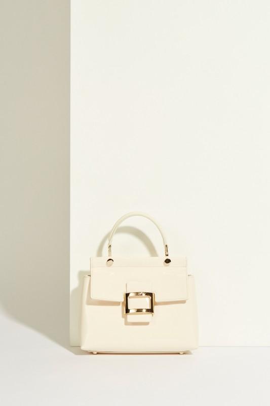 Lackleder-Tasche 'VIV Cabas Mini' mit Schnalle Weiß