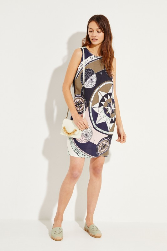 Leine-Kleid mit Print Multi