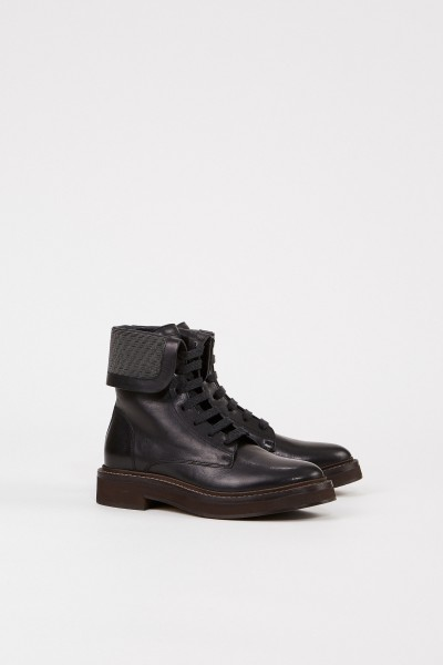 Brunello Cucinelli Leather boots with pearl decoration Black