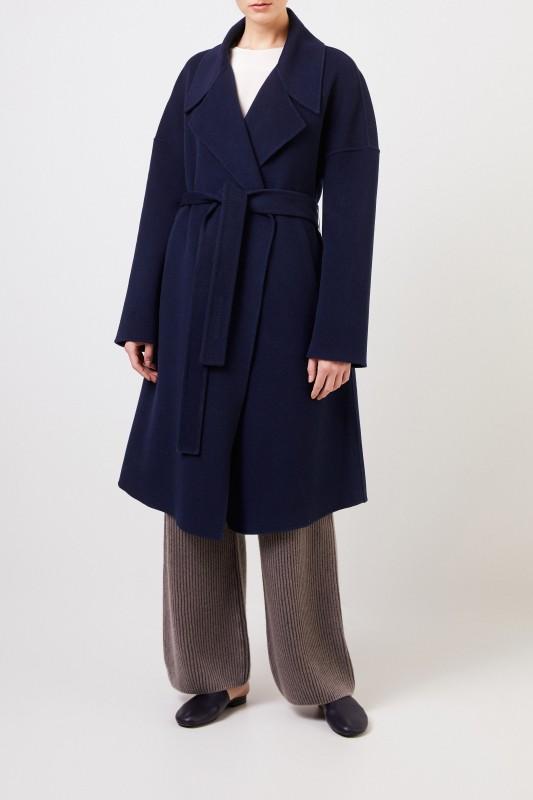 Cashmere-Mantel 'Eirin' mit Gürtel Blau
