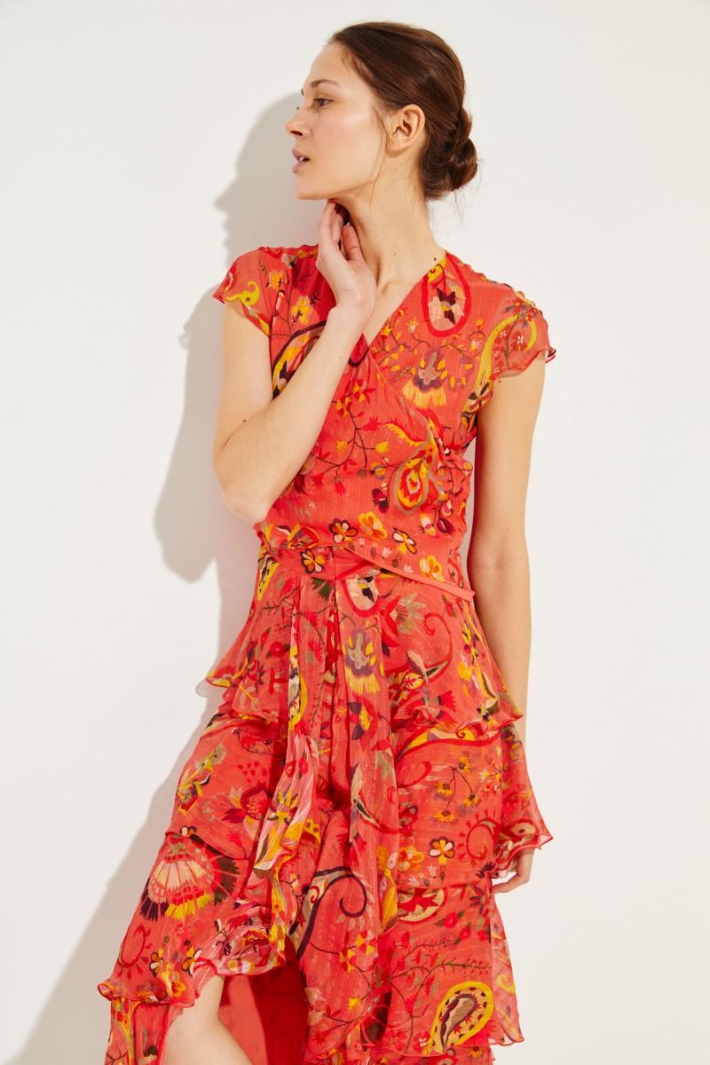 Kurzes Seiden-Kleid mit Rüschen Rot/Multi