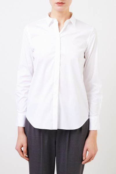 Brunello Cucinelli Classic cotton blouse with pearl decoration White