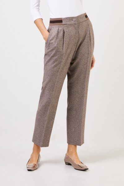 Iris von Arnim Gabardine trousers 'Janna' with elastic waistband nature