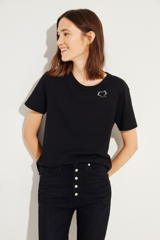 T-Shirt mit einem Logo-Detail Schwarz