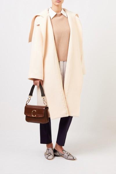 Long wool coat with belt Seedpearl Beige
