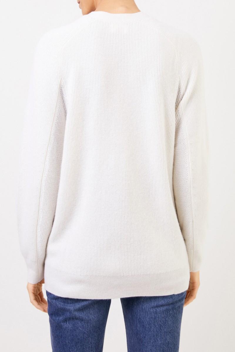 Uzwei Cashmere-Cardigan mit Mesh-Strick Weiß